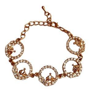 🍒Gold tone zirconium linked charm woman bracelet